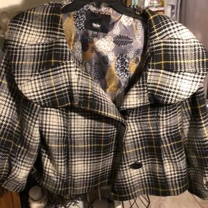 Plaid jacket with huge buttons